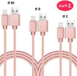 Nylon Braided USB Quick Charging Cable Lightning 3 PACK 3/6/