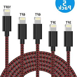 TNSO Phone Cable 5-Pack, Nylon Braided Cord High Speed Synci