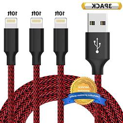 Aonsen Phone Cable 3Pack 10FT Nylon Braided USB Charging & S