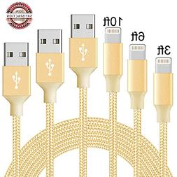 Phone Cable 3Pack 3FT 6FT 10FT to USB Syncing Data and Nylon