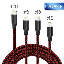 QIANXIANG Phone Charger Cable, Extra Long Nylon Braided 4 Pa