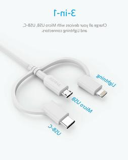Anker Powerline II 3-in-1 Lightning/Type C/Micro USB Cable f