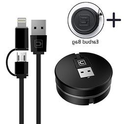 Retractable Charging Cable, CAFELE 2 in 1 8 Pin/Micro USB Po