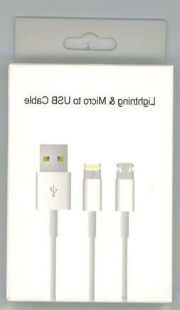 Revisable Micro USB & Lightning Charging Data Cable 2 in 1