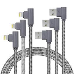 10FT 3 Pack  Right Angle iPhone Charger Cord 90 Degree Fast