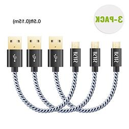 iKits Short Micro USB Cable 0.5ft Nylon Braided High Speed D