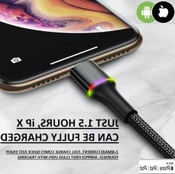LED USB Fast Charging iPhone  Android  Halo Cable S9-S10-S20