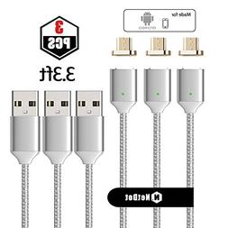 NetDot 3 Pack Upgraded 1m/3.3ft Nylon Bradied USB Fast Charg