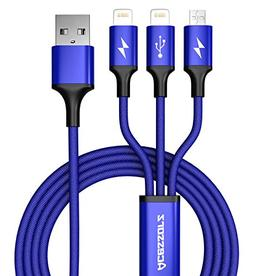 USB 3 in 1 Cable, Acessorz Multi Charger 4FT Nylon Braided F