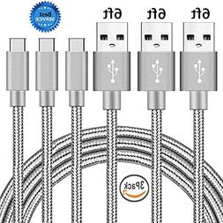 USB Type C Cable, Daker 3pack 6ft Braided Nylon USB-C to USB