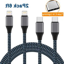 USB Type C to Lightning Cable, Nylon Braided iPhone Charger