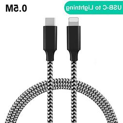 USB C to Lightning Cable 1.6FT/0.5M, QGhappy Type C to Light