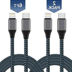 Xcords USB C to Lightning Cable, Nylon Braided [2Pack 6FT Ap