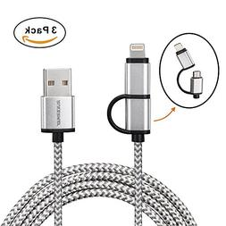 Rukerway  USB Cable  Extra Long Lightning and Micro USB Powe