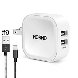 Zouxin iPhone Wall Charger,4.8A 24W 3-Port Travel Wall Charg